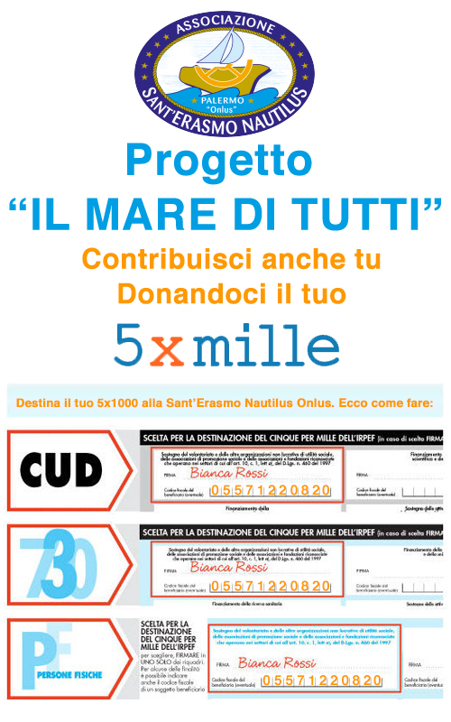 Esempio per la donazione del 5permille all'associazione Sant'Erasmo Nautilus Onlus di Palermo